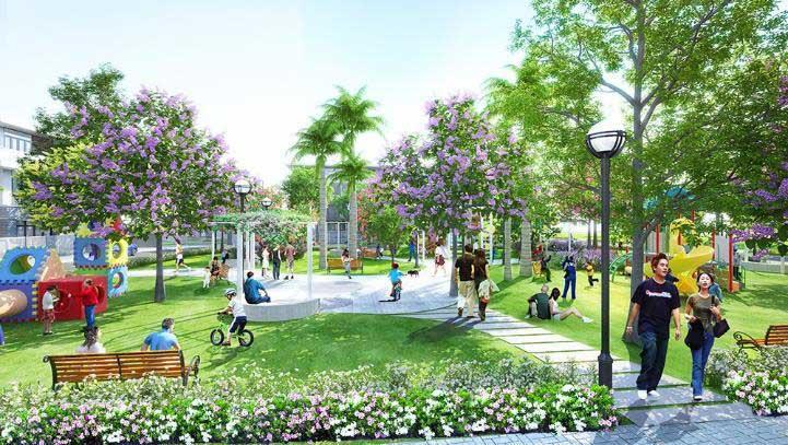 vườn cây xanh trong khu đô thị sinh thái